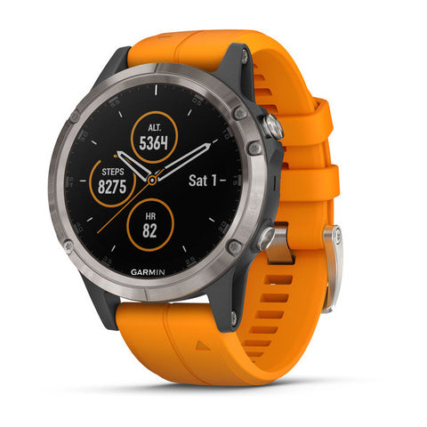 Garmin fenix 5 Plus Sapphire - Titanium with Solar Flare Orange Band
