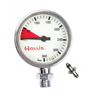 Hollis PRESSURE GAUGE MODULE BAR -- METAL W/O BOOT, Hollis - New England Dive