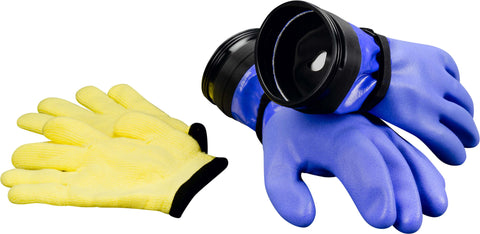 DUI Dry Zip Gloves Heavy Duty Blue W/ Dam, DUI - New England Dive