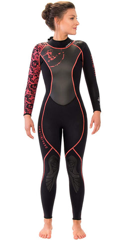 Aqua Lung 3mm Women's Hydroflex Black/ Coral, Aqua Lung - New England Dive