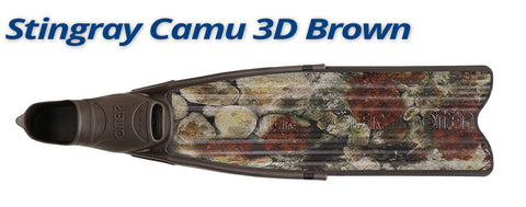 Omersub Sporasub StingRay Fins Brown Camo 3D