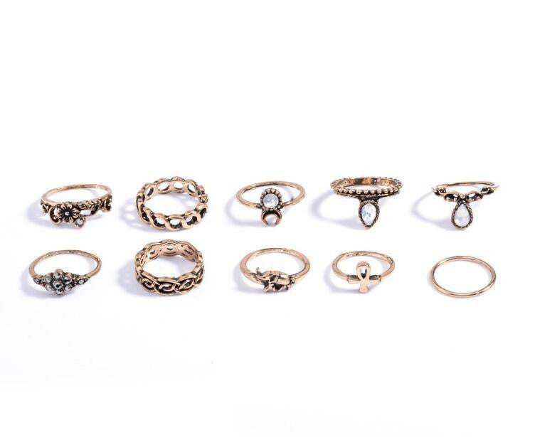 10 Piece Vintage Boho Ring Set Project Yourself