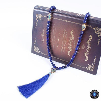 108 Natural Lapis Lazuli Stone Beautiful Gold Accented Long Tassel Charm Mala Mala