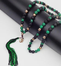 108 Natural Malachite and Lava Stone Long Tassel Mala with Gold Plated Om Charm Mala