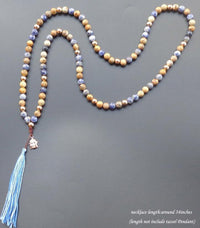 108 Natural Stone Mala with Gold Plated Buddha Head Charm Tassel Mala