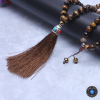 108 Natural Tiger Eye Stone Necklace Long Tassel Mala Mala