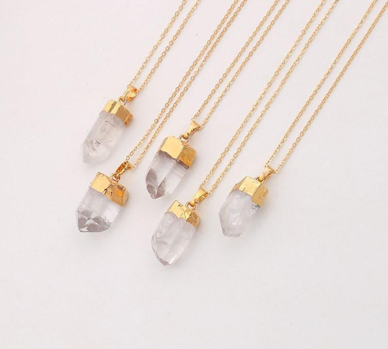 18k gold dipped raw clear crystal quartz pendant necklace project 18k gold dipped raw clear crystal quartz pendant necklace necklace mozeypictures Image collections