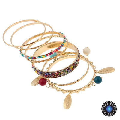 18K Gold Plated Boho Multicolor Beads Bangles Bracelet