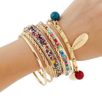 4ea82400cf6 18K Gold Plated Boho Multicolor Beads Bangles - Project Yourself