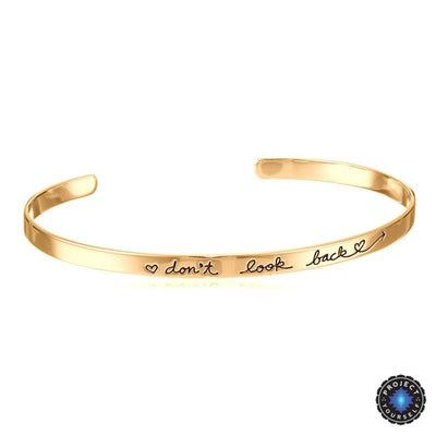 "18K Gold Plated Engraved Dainty ""Don't Look Back"" Adjustable Inspirational Bangle Gold Bracelet"