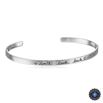 "18K Gold Plated Engraved Dainty ""Don't Look Back"" Adjustable Inspirational Bangle Silver Bracelet"