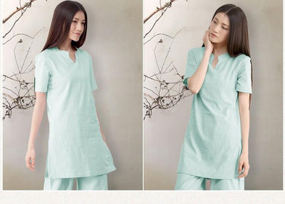 2-Piece Loose Cotton Linen Meditation Clothing Set Clothing