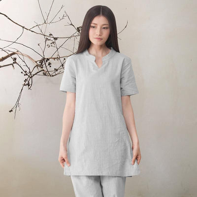 2-Piece Loose Cotton Linen Meditation Clothing Set Gray / M Clothing