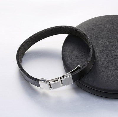 3 Buckle Genuine Leather Belt Bracelet Black Bracelets
