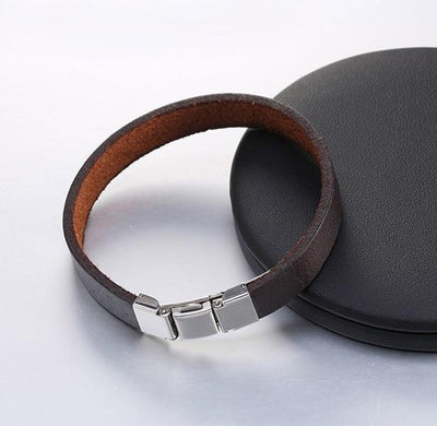 3 Buckle Genuine Leather Belt Bracelet Brown Bracelets
