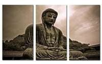 3 Panel Gray Scale Buddha Canvas Painting Painting