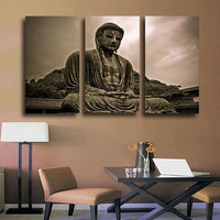 3 Panel Gray Scale Buddha Canvas Painting Small Painting