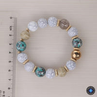 3-Piece Stone and Wood Beads Elephant Charm Boho Bracelet Set Bracelet