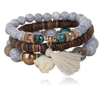 3-Piece Stone and Wood Beads Elephant Charm Boho Bracelet Set Style 1 Bracelet