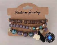 3-Piece Stone and Wood Beads Elephant Charm Boho Bracelet Set Style 2 Bracelet