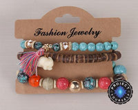 3-Piece Stone and Wood Beads Elephant Charm Boho Bracelet Set Style 3 Bracelet