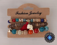 3-Piece Stone and Wood Beads Elephant Charm Boho Bracelet Set Style 4 Bracelet