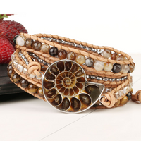 Ammonite Fossils Tiger Eye Wrap Bracelet