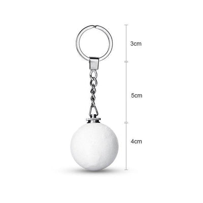 3D Moon Lamp Keychain White / Ring Hook / 0-5W Keychains