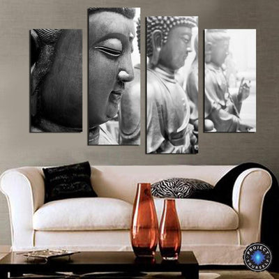 4 Panel Gray Scale Buddha Wall Art Painting Large Painting