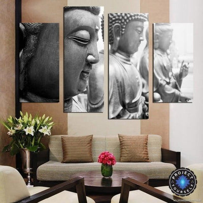 4 Panel Gray Scale Buddha Wall Art Painting Painting
