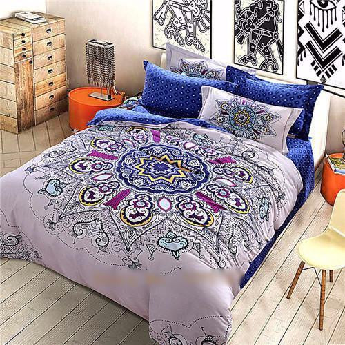 4 Piece Mandala Bedding Sets Blue Mandala Queen Bed Sheets