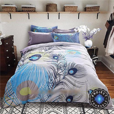 4-Piece Mandala Bedding Sets Feather / Queen Bed Sheets