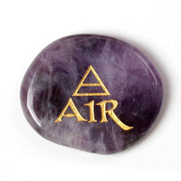 4 Piece Natural Amethyst Gold Engraved Elements Stones Set Chakra Stones