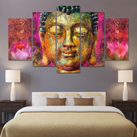 5-Panel Purity Lotus Buddha Painting Painting