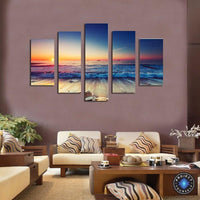 5 Panel Sunset Seascape Canvas Oil Painting Painting