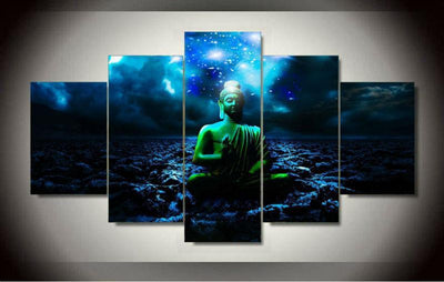 5-Piece Panel HD Endless Galaxy Meditating Buddha Painting Small / No Frame Painting