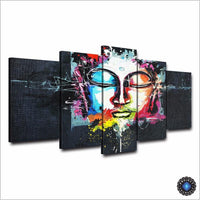 5-Piece Panel HD Multicolored Graphic Art Buddha Painting Painting