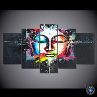 5-Piece Panel HD Multicolored Graphic Art Buddha Painting Small No Frame Painting