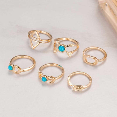6-Piece Moon & Arrow Gypsy Ring Set Gold Rings