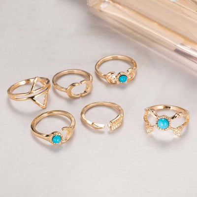 6-Piece Moon & Arrow Gypsy Ring Set Rings