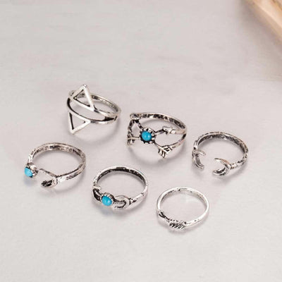 6-Piece Moon & Arrow Gypsy Ring Set Silver Rings