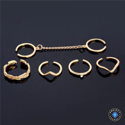 6-Piece Stackable Ring Set Gold Rings
