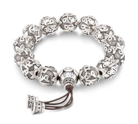 6 Syllable Mantra Silver Plated Lotus Bead Bracelet 12mm silver Bracelet