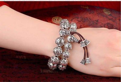 6 Syllable Mantra Silver Plated Lotus Bead Bracelet Bracelet
