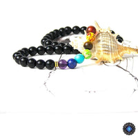 7 Chakra Black Agate Beads Necklaces Chakra Necklace