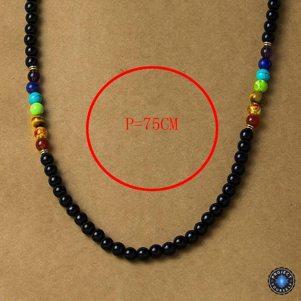 7 Chakra Black Agate Beads Necklaces - Project Yourself