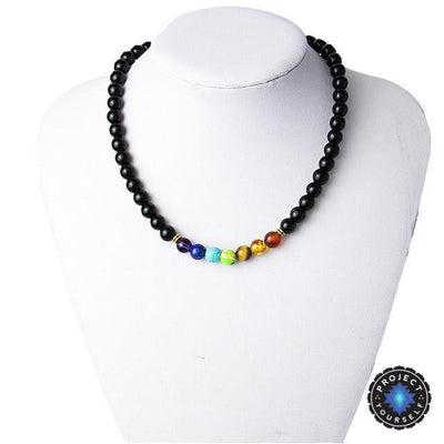 7 Chakra Black Agate Beads Necklaces Style 2 Chakra Necklace