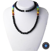 7 Chakra Black Agate Beads Necklaces Style 3 Chakra Necklace