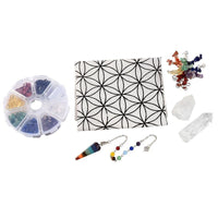 7 Chakra Flower of Life Crystal Grid Kit Crystals