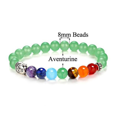 7 Chakra Stones with Silver Buddha Head Charm and Silver Spacer Bracelet Aventurine Bracelet